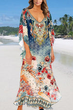 Holiday Floral Gradient Print V-neck Batwing Maxi Dress