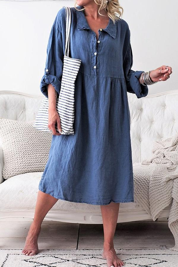 Linen Notch Collar Button Down Adjustable Sleeves Midi Dress