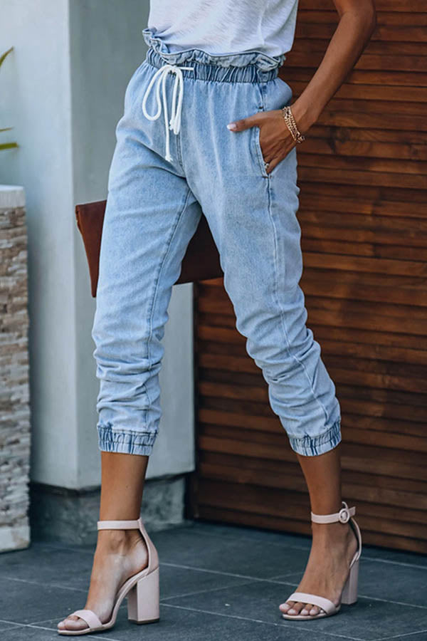 Street Solid Drawstring Pockets Ruffled Trim Elastic Women Jeans