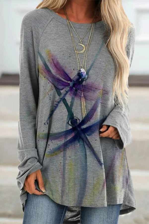 Gradient Purple Dragonfly Print Paneled Casual T-shirt
