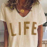 V-neck Letter Casual  T-shirts