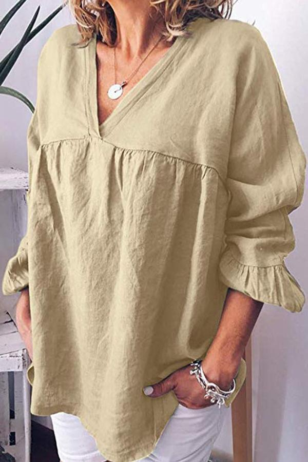 Ruffle Long Sleeves Loose Solid Cotton Blouses