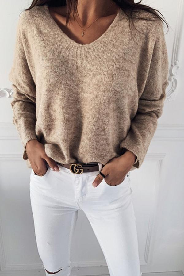 Casual Plain V-neck Jumper
