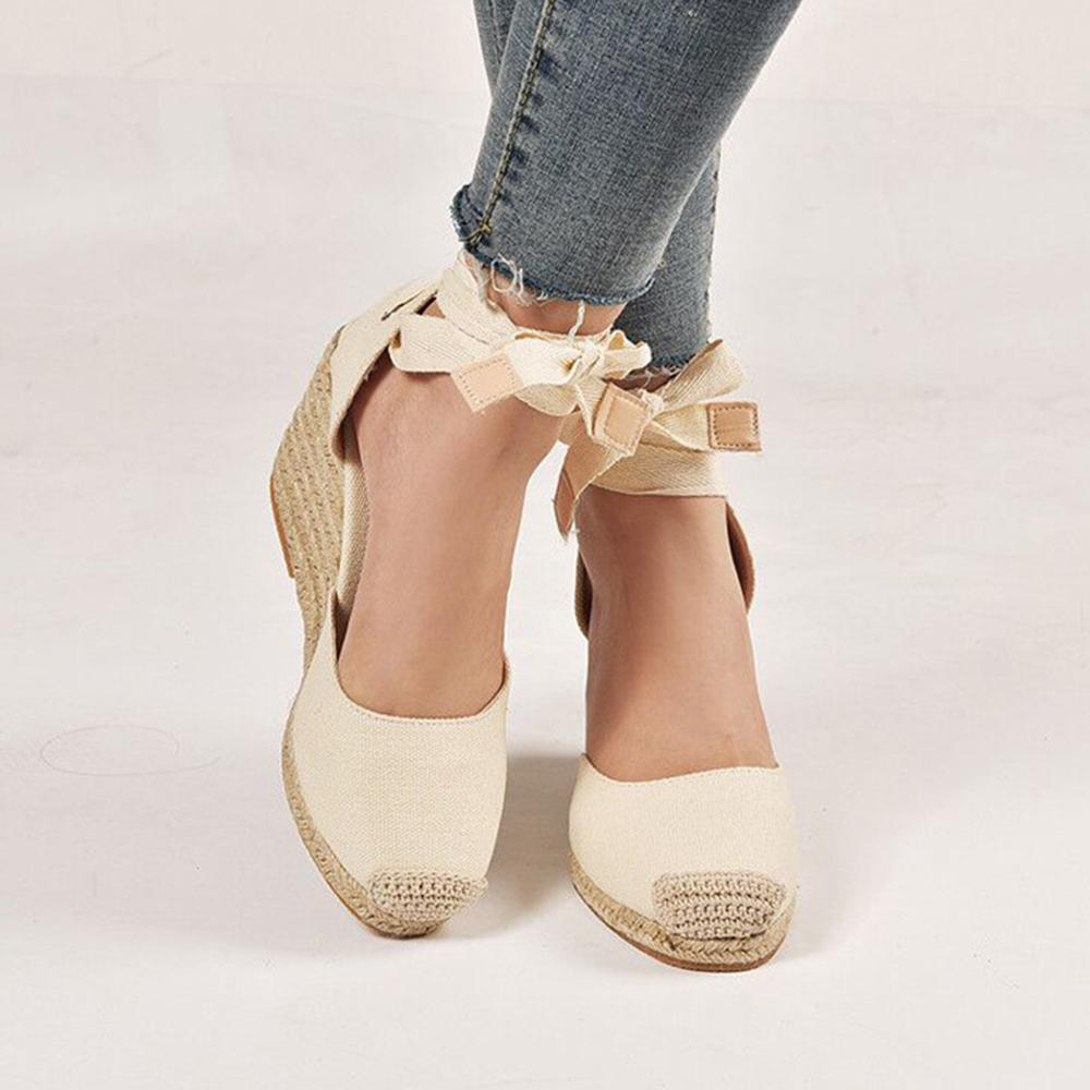 Wedge Heel Hemp Rope Belt Casual Sandals