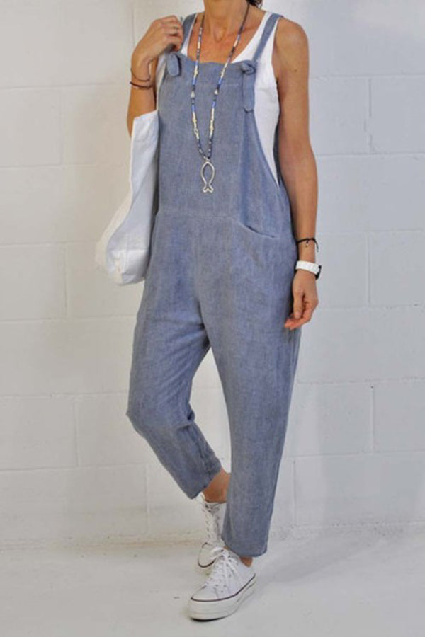 Solid Casual Sling Paneled Sleeveless Side Pockets Jumpsuit