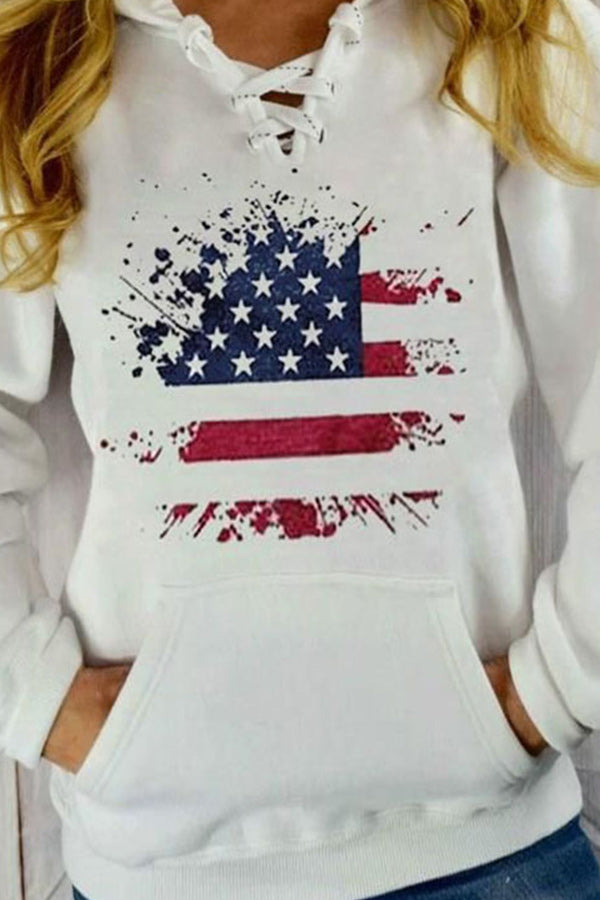 Sports American Flag Print Lace Up Pocket Front Hoodie
