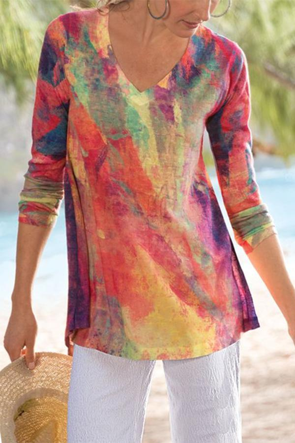 Gradient Print V-neck Holiday Long Sleeves T-shirt