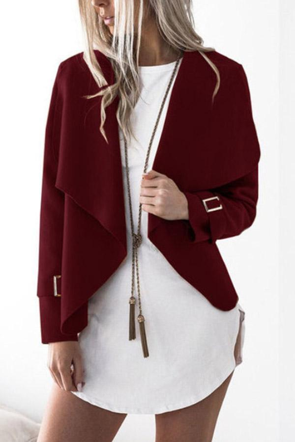 Long Sleeves Solid Lapel Collar Coat