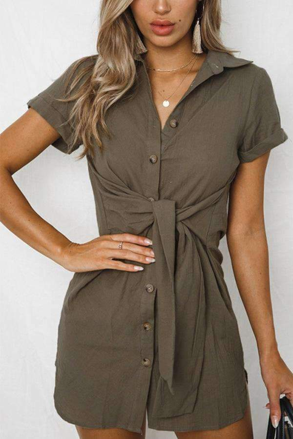 Paneled Knot Front Buttoned Casual Slit Mini Dress