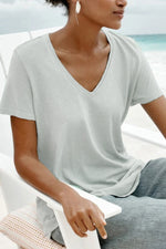 Solid Casual V Neck Short Sleeves T Shirt