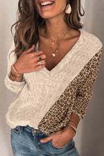 Color-block Leopard Jacquard Knitted V-neck Street Trendy Sweater