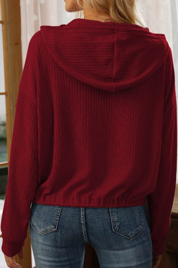 Casual Solid Paneled Ribbed Drawstring Knitted Hoodie
