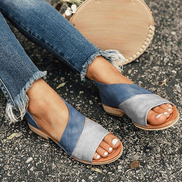 Color Block Open Toe Slip On Sandal