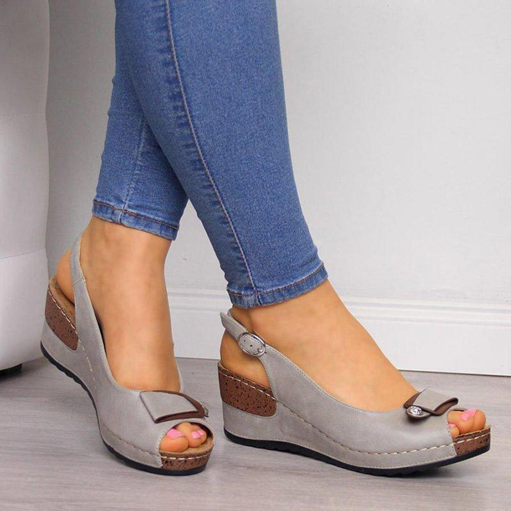 Peep Toe Slip-on Wedge Sandals