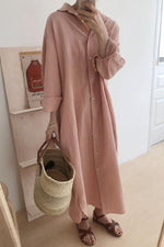 Solid Buttons Down Paneled Casual Slit Maxi Dress