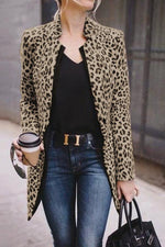 Stand Collar  Leopard Print Suit Coat