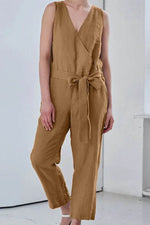 Cross Front V-Ausschnitt Ärmellos Casual Solid Self-Tie Pockets Jumpsuit