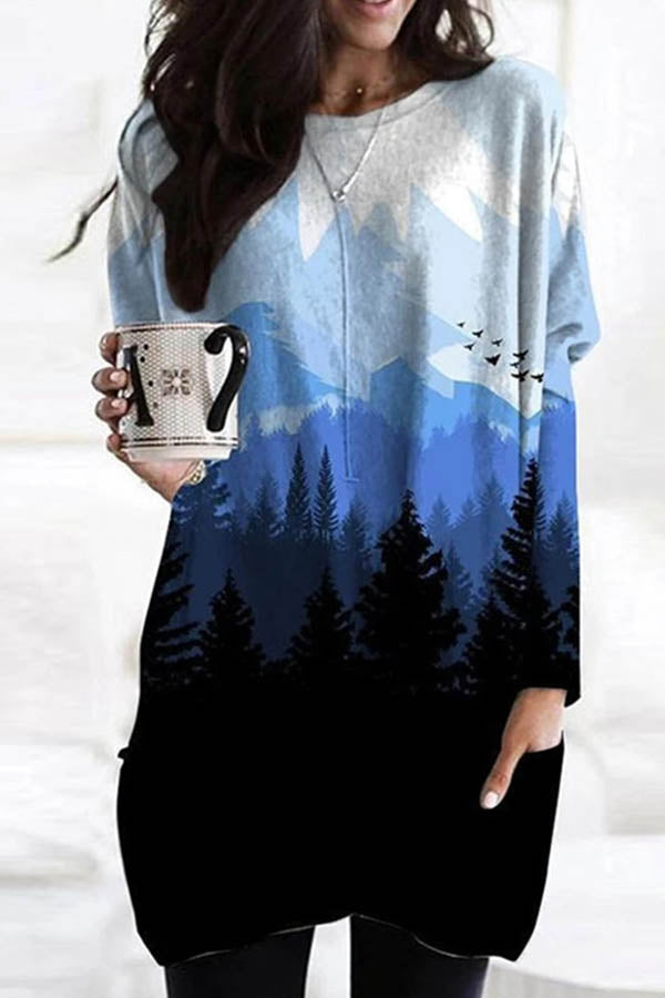Gradient Deep Mountain Forest Landscape Print Vintage Paneled T-shirt