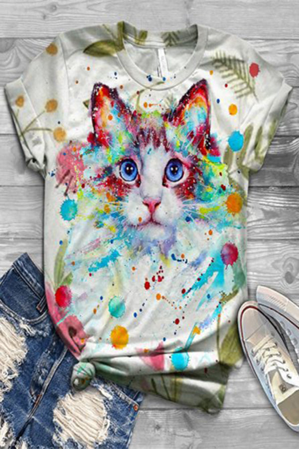 Gradient Cartoon Cat Print Paneled Short Sleeves Casual T-shirt