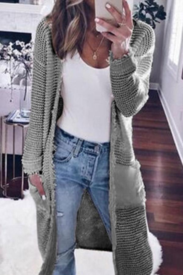 Casual Solid Pockets Long Sleeves Cardigans