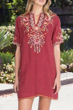Vintage Floral Embroidery Paneled V-neck Short Sleeves Mini Dress
