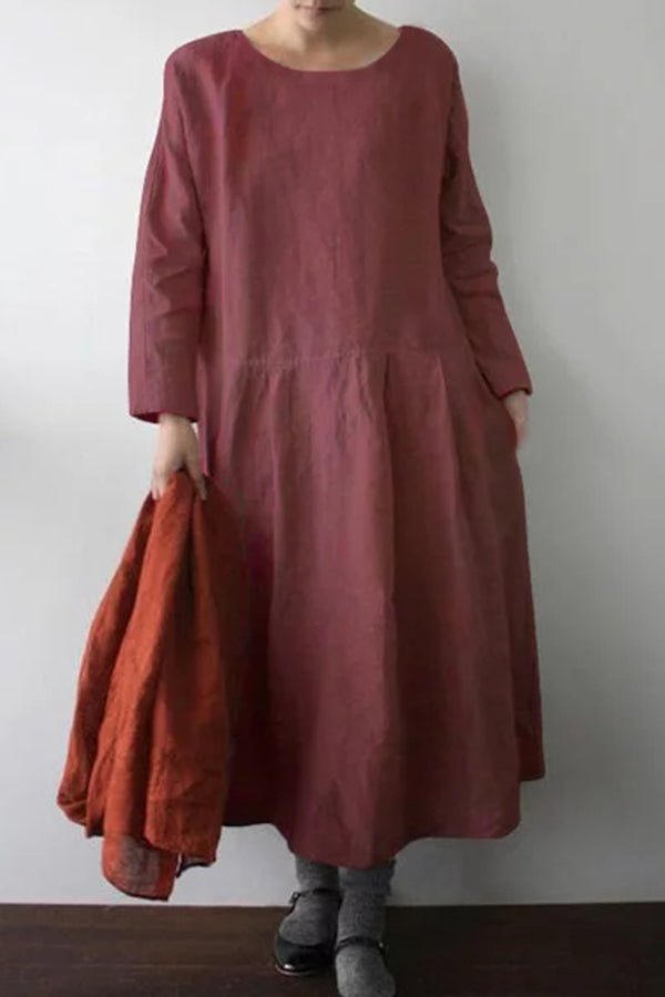Casual Round Neck Solid Half Sleeves Maxi Dress