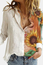Sleeping Sunflower Woman Print Paneled Color-block Casual Blouse