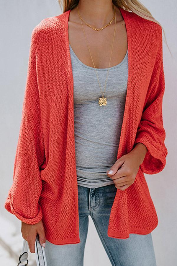 Casual Solid Knitted Cardigans