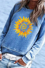 Sunflower Print Paneled Crew Neck Long Sleeves Casual Sweatshirt