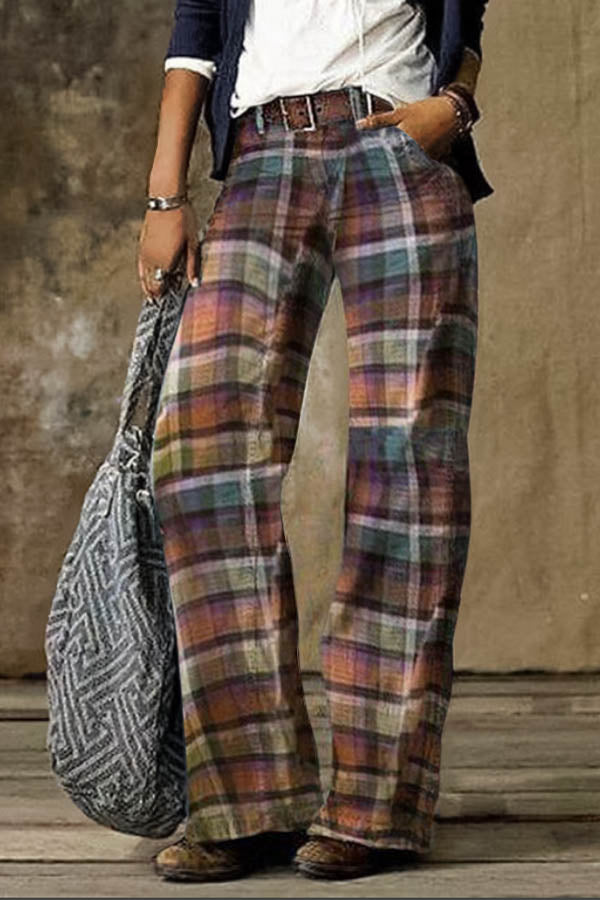 Women Vintage Holiday Plaid Jacquard Paneled Wide Leg Pants