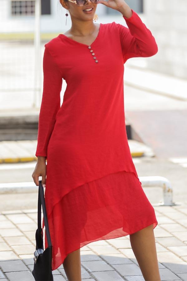 Solid Buttoned V-neck Irregular Paneled Midi Dress