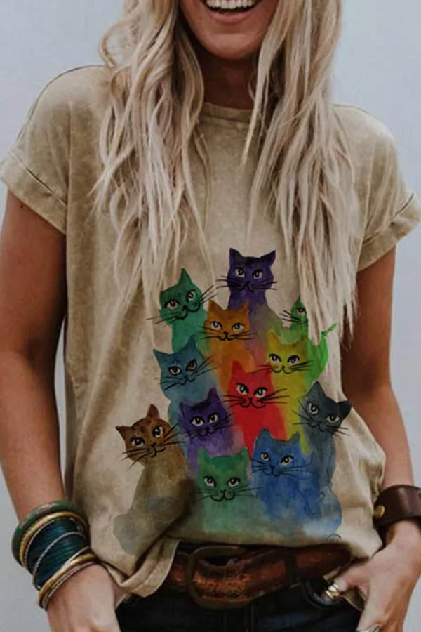 Casual Colorful Cat Print Paneled Short Sleeves Cartoon T-shirt