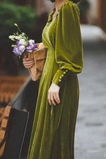 Solid Casual Square Neck Maxi Dress
