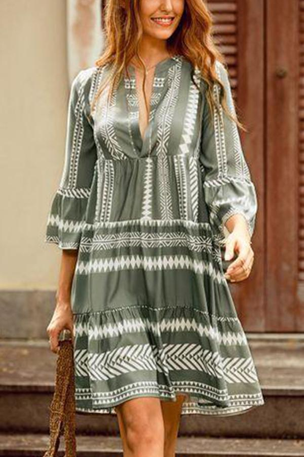 Geometric Print V-neck Chiffon Shirt Dress