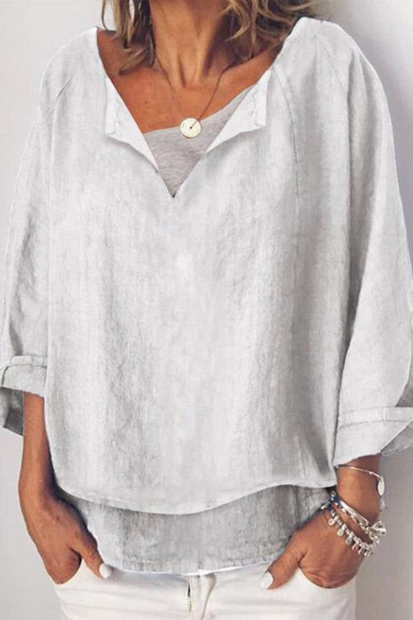 Linen V-neck Casual Long Sleeve Blouses