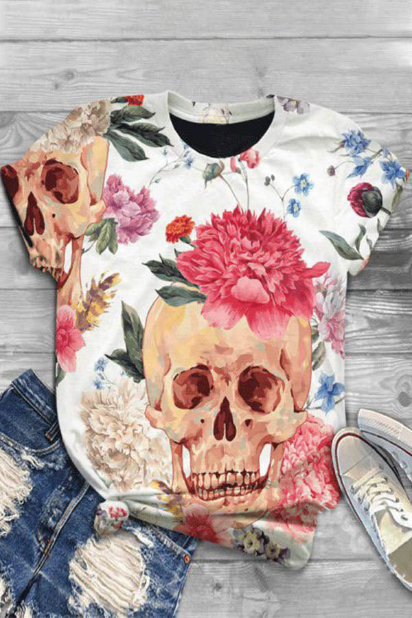 Casual Skull Floral Print Paneled Crew Neck T-shirt