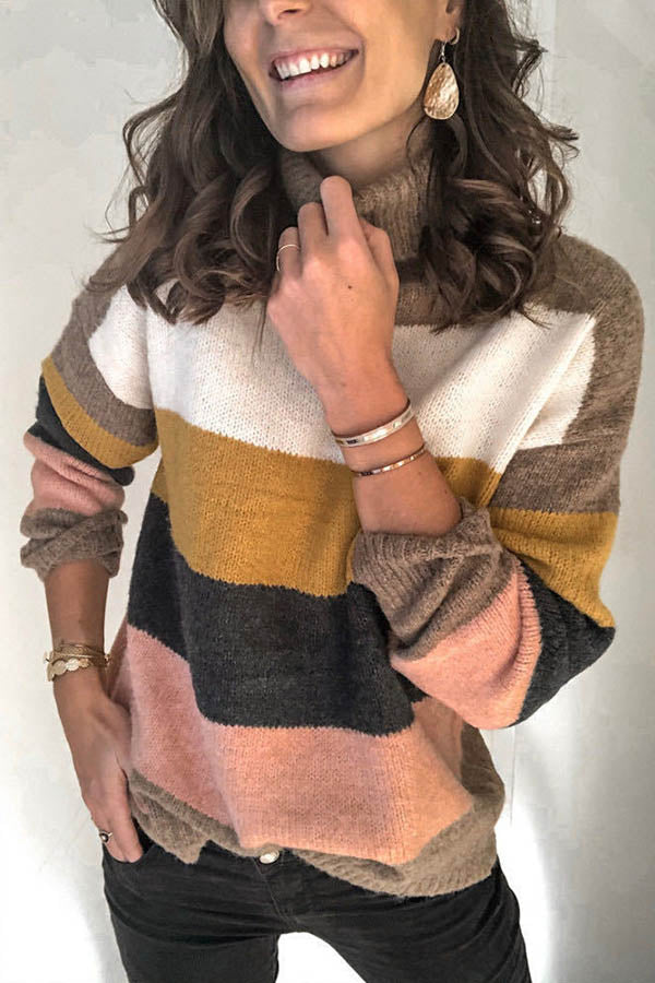 Striped Jacquard Color-block Knitted Turtleneck Casual Ribbed Sweater