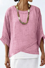 Batwing 3/4 Sleeves Round Neck Solid Casual Linen T-shirts