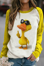 Bright Yellow Duck With Sunglasses Print Raglan Sleeves Color-block Sweatshirt