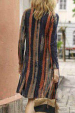 A-Line Daily Vintage Striped  Midi Dress