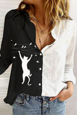 Lively Cat With Bird Print Buttons Down Shirt Collar Color Block Blouse