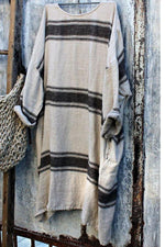 Casual Scoop Neck Striped Loose Midi Dress