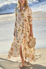 Bohemian Floral Print Buttoned Holiday Maxi Dress