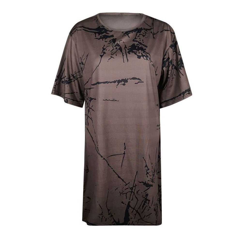 Women Casual Printing Loose Mini Dress