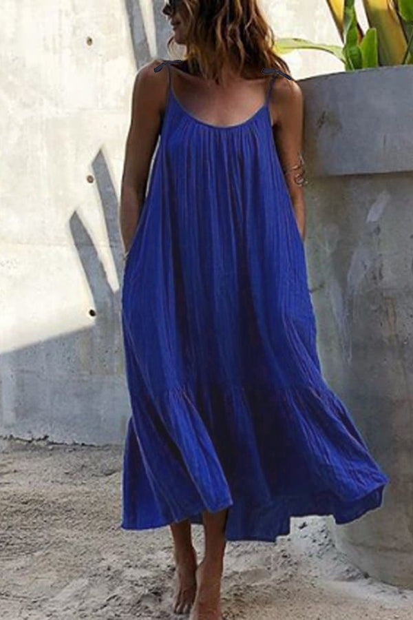 Casual Sling Vacation Round Neck  Maxi Dress