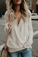 Cross Design Deep V Knit Sexy Sweater