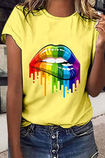 Color Mouth Print Casual Short Sleeve T-shirt