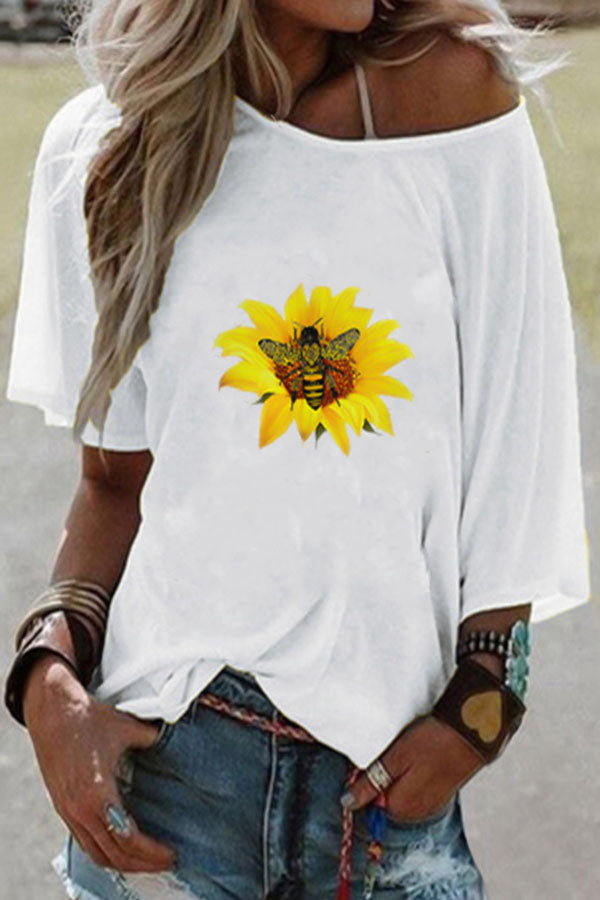 Sunflower Bee Print Casual Short Sleeves T-shirt