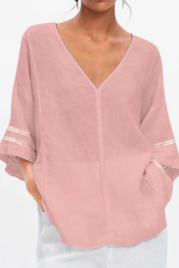 Solid V Neck Loose Casual Blouse