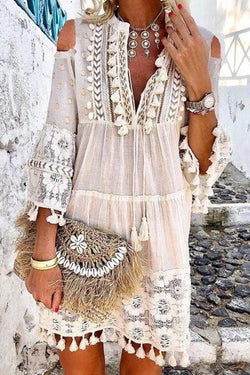 Fashion Tassel Lace V-neck Mini Dress